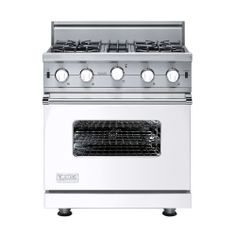 white viking range ... if this were a double oven it would be my dream appliance.