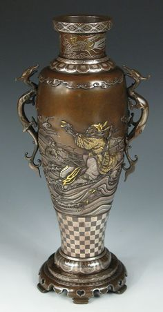 Bronze and multi-metal vase
