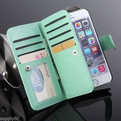 For Apple Iphone 6S Plus PU Leather Credit Card Holder Wallet Flip Case Cover