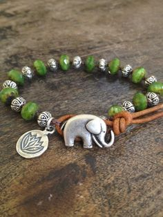 Elephant & Silver Lotus Leather Wrap Bracelet by TwoSilverSisters