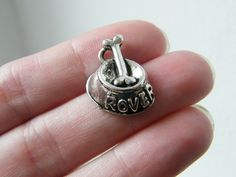 8 Dog bowl and bone charms antique silver tone D10