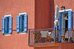Facade, Greece, Balcony Window, Building, Countries, Islands, Blue, Greece Country, Buildings