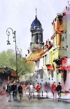 Love the simplicity of the figures in this painting by Corneliu Dragan-Targoviste. Watercolor City, Watercolor Sketch, Watercolor Artists, Watercolor Landscape, Landscape Paintings, Watercolor Paintings, Watercolors, Watercolor Architecture, Art And Architecture