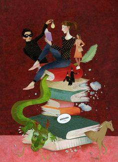 Libros: mundos por descubrir (ilustración de  Karine Daisay)