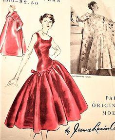 1950s DRAMATIC Jeanne Lanvin Castillo Evening Dress and Coat Pattern VOGUE Paris Original Model 1310 Bust 30 Vintage Sewing Pattern FACTORY FOLDED