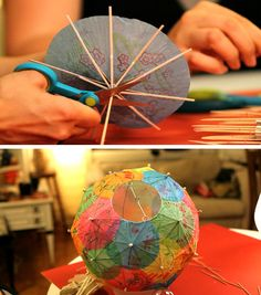 How to make a cocktail umbrella lantern. DIY. Tutorial here. This is to insert a lightbulb inside. Idea comes from Etsy.