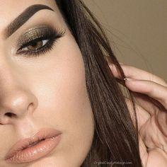 Olive green smokey eye and peach lips - Anastasia Moss eyeshadow, ColourPop lippie stix in BFF