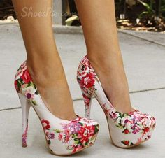 Extraordinary Flower Print Platform Stiletto Heels