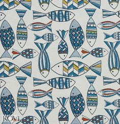 Blue and Teal on White Marine Nautical Small and Large Fish Pattern Woven Brocade Upholstery Fabric