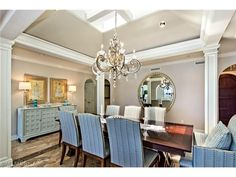 A dining room worth of Port Royal.  Love the millwork, the flooring, the chandelier - perfect.  Coastal elegance.  1150 Galleon Drive in Port Royal | Naples, Florida