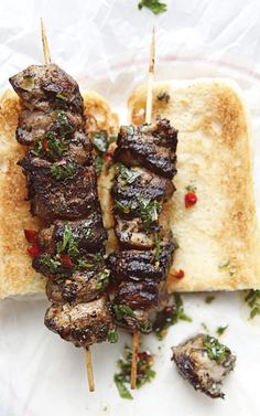 Spiedies- I just made these on the grill tonight and they were a big hit.  Everyone loved them.  Don't skip out on making the dipping sauce after the marinade.  It's worth the extra step.