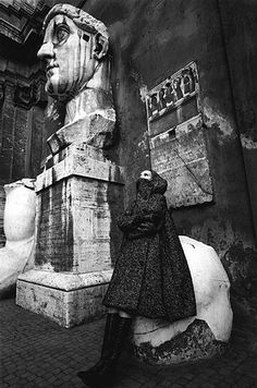 Italian Vintage Photographs ~ #Italy #Italian #vintage #photographs #history #culture ~ Jeanloup SIEFF :: For Harper's Bazaar at Musei Capitolini with statue of the Emperor Constantine, Italy, 1962