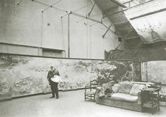 Monet in his studio in front of Morning c. 1924-25 Google Image Result for http://www.monetpainting.net/photos/images/studio_big.jpg