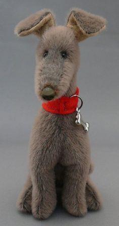 Billy has been made with a grey bear velvet and wears a red collar.He in the sitting position. Bear Toy, Panda Bear, Velvet Kurtis Design, Old Teddy Bears, Fairy Dolls, Orangutan, Chipmunks, Guinea Pigs, Mammals