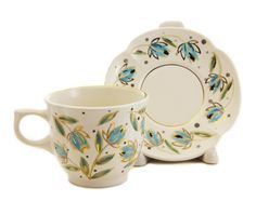 $22.00 The Flower Collection Cup & Saucer Set from the Ceramic Workshop of St. Elisabeth Convent - To learn more: http://catalog.obitel-minsk.com/ceramics-workshop Worldwide Delivery - #CatalogOfGoodDeeds #pottery #ceramic #handmade #order #purchase #buy #gift #souvenir #present #cup #mug #sauser #plate #teaset