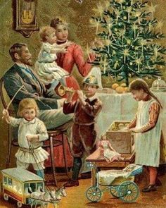 Family tree illustration vintage christmas cards ideas for 2019 Vintage Christmas Images, Old Fashioned Christmas, Christmas Scenes, Christmas Past, Victorian Christmas, Retro Christmas, Vintage Holiday, Christmas Pictures, Christmas Mantles