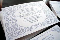 Gatsby Letterpress Wedding Invitation by goldenrectanglepress, $7.00