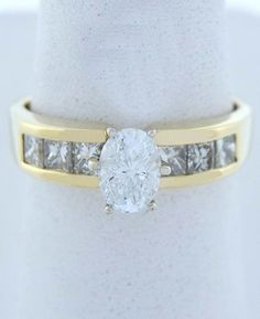 1.10ct OVAL PRINCESS DIAMOND ENGAGEMENT WEDDING RING LADIES 14K YELLOW GOLD
