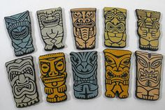 Wooden Tiki Art Parts - Collection of 10 Laser Cut Tiki Pieces on Etsy, $7.95