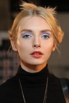 Backstage at Sally LaPointe Spring 2015 - Pastel eyes, bright lips