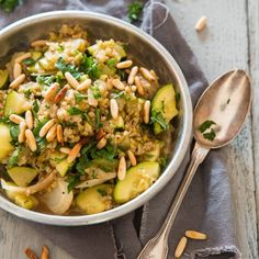 Freekeh with fennel and courgette HealthyAperture.com