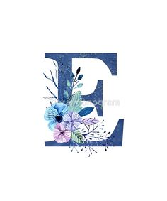 Monogram E Icy Winter Bouquet by floralmonogram - Dekoration Alphabet Letters Design, Monogram Alphabet, Alphabet And Numbers, Logo Online Shop, Monogram Wallpaper, Letter Photography, Winter Bouquet, Lettering Design, Art Pictures