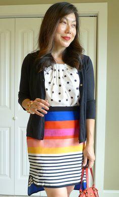 #landsend cardi #jcrewfactory top #asos skirt #coach bag #inpinkstyle bracelet