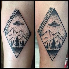 X Files, UFO tattoo done by Thom  Rein at Ink Lab in Austin Tx.