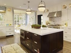 dark wood and whites are a favorite in kitchens