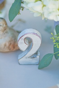shabby, rustic white table numbers
