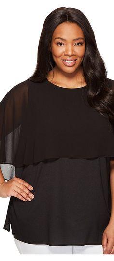 Calvin Klein Plus Plus Size Short Sleeve Ruffle Top (Black) Women's Clothing - Calvin Klein Plus, Plus Size Short Sleeve Ruffle Top, W7BAI659-001, Apparel Top General, Top, Top, Apparel, Clothes Clothing, Gift, - Fashion Ideas To Inspire