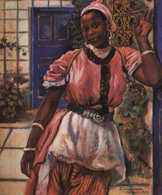 """Zinaida Serebriakova (1884-1967) """"Moroccan woman wearing a pink dress""""  (1932)"""
