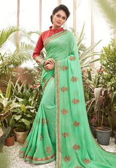 Buy Light Green Chanderi Silk Saree With Blouse 201615 with blouse online at lowest price from vast collection of sarees at Indianclothstore.com. Chanderi Silk Saree, Lehenga Choli, Silk Sarees, Sari, Latest Designer Sarees, Latest Sarees, New Fashion Saree, Party Wear Sarees Online, Celebrity Gowns