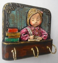 History Of Calligraphy, Clay Wall Art, Miniature Houses, Polymer Clay Art, Online Art, Decoupage, Arts And Crafts, Frame, Artist