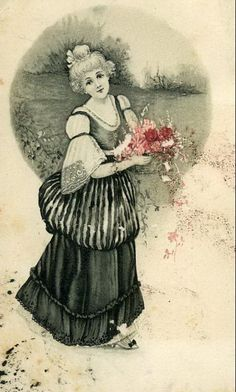Vintage Lady with rose bouquet