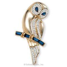 Goldtone and Crystal Owl Pin