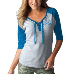 Detroit Lions Touch by Alyssa Milano Women's Perfect Game Lace Up 3/4-Sleeve Raglan T-Shirt - Heathered Gray/Blue