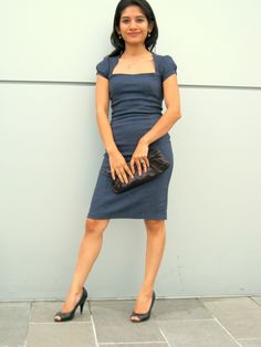 vestido azul sastre