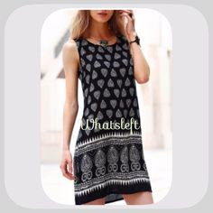 """2x HP NWT Tribal Print Navy/Cream Sleeveless Dress 2X HP! 5/18/16! """" Best In Dresses and Skirts Party """"! This is a gorgeous dress! I have mire sizes coming soon! It is a very lightweight material, super nice ! It does have a side zipper! Armpit to armpit 19.5 inches! Length 34 inches! Chosen by @juliebcloset please check out her amazing closet! chosen by@bstic please check out her beautiful closet!  Boutique Dresses Mini"""