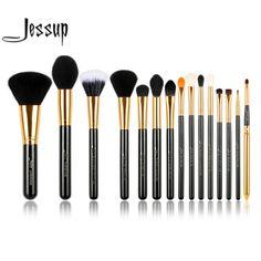 Just $17.33, Buy Jessup Pro 15pcs Makeup Brushes Set Powder Foundation Eyeshadow Eyeliner Lip Brush Tool Black and Gold