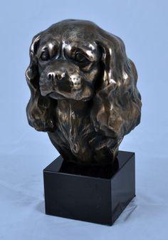 Cavalier Spaniel King on Marble Statue Figurine Sculpture Head Cold Cast Bronze   eBay