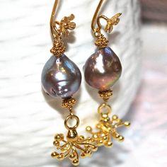 Rainbow Pondslime Pearl Earrings Bali Gold Vermeil by FizzCandy, $55.00