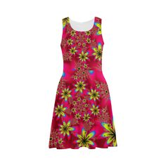Red and Yellow Fractal Flowers Pattern Sundress - artwork designed by Tracey Lee Art Designs.