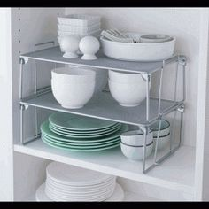 when you have limited space especially within the kitchen use theses shelf dividers to create vertical space to add more items to your cabinet