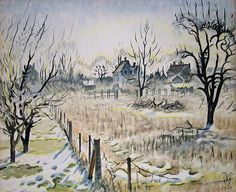 Charles Burchfield Backyards with early sunlight