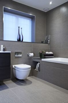 Bathroom Renovation Ideas: bathroom remodel cost, bathroom ideas for small bathrooms, small bathroom design ideas Grey Bathroom Tiles, Gray Bathroom Decor, Family Bathroom, Bathroom Layout, Modern Bathroom Design, Contemporary Bathrooms, Bathroom Interior Design, White Bathrooms, Interior Ideas