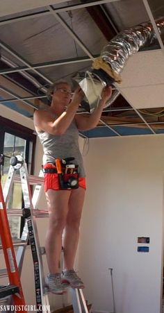 Install plank ceilings right onto a suspended ceiling grid! Change the appearance of suspended, acoustic tile ceilings -- with no demo! Drop Ceiling Basement, Drop Down Ceiling, Drop Ceiling Grid, Drop Ceiling Tiles, Plank Ceiling, Dropped Ceiling, Recessed Ceiling, Drop Ceiling Makeover, Sawdust Girl
