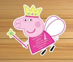 Peppa the pig invitations Princess Peppa by BirthdayPartyBox