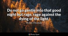 Do not go gentle into that good night but rage, rage against the dying of the light. - Dylan Thomas ay #Quotes/Thoughts #QuotesCollection #Age Quotes