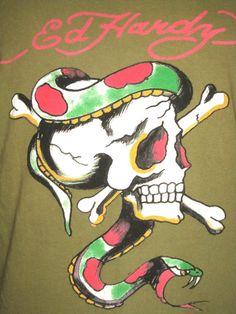 Ed Hardy Adult Large Green T-Shirt ( L Christian Audigier Designer & Designs…